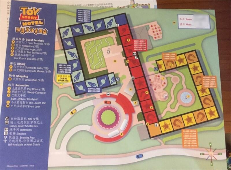 上海ディズニーランドのトイ・ストーリー・ホテル館内マップ