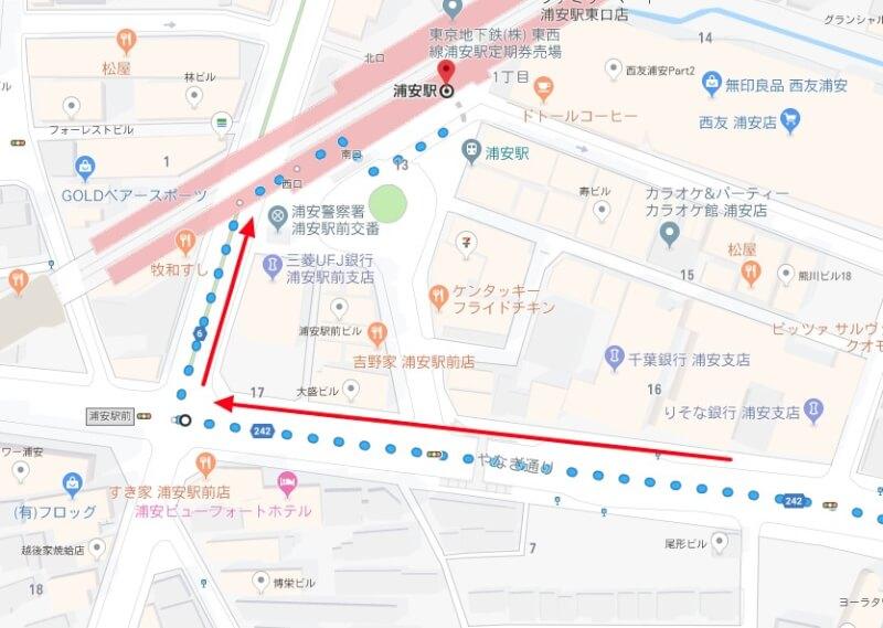 舞浜駅から浦安駅まで歩いていく方法